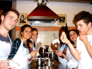 students cooking group